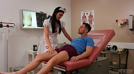 Whorish dark-haired in sexy nurse..