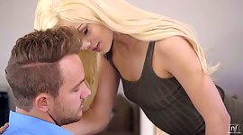 Bare boned secretary Elsa Jean pleases..