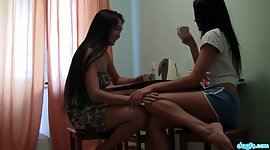 2 naive Asian girlfriends enjoy eating..