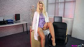 Charming blond milf Sky collects..