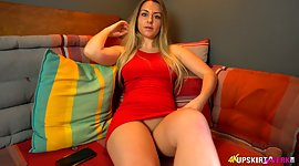 Racy blonde in red outfit Sophie shows..