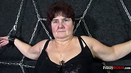 Chained corpulent granny Hana gives a..