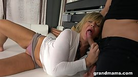 Racy guy enjoys spanking sexy granny..