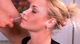 Babe holds messy facial milkshot after..